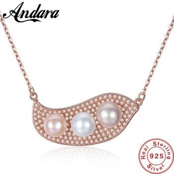 dca68401d9a3 Última moda mujeres collar elegante de Plata de Ley 925 agua dulce perla  colgante collares