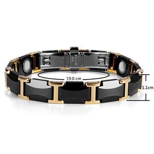 Image 5 - Rainso黒セラミックタングステン鋼磁気健康ケアリンクブレスレットと女性のためのゴールドカラーORB 216 01BKG 2020
