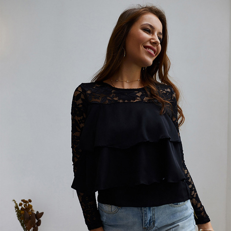 New 2019 Long Sleeve Lace Loose Tops Temperament Commuter Shirt tops women shirts  N30D