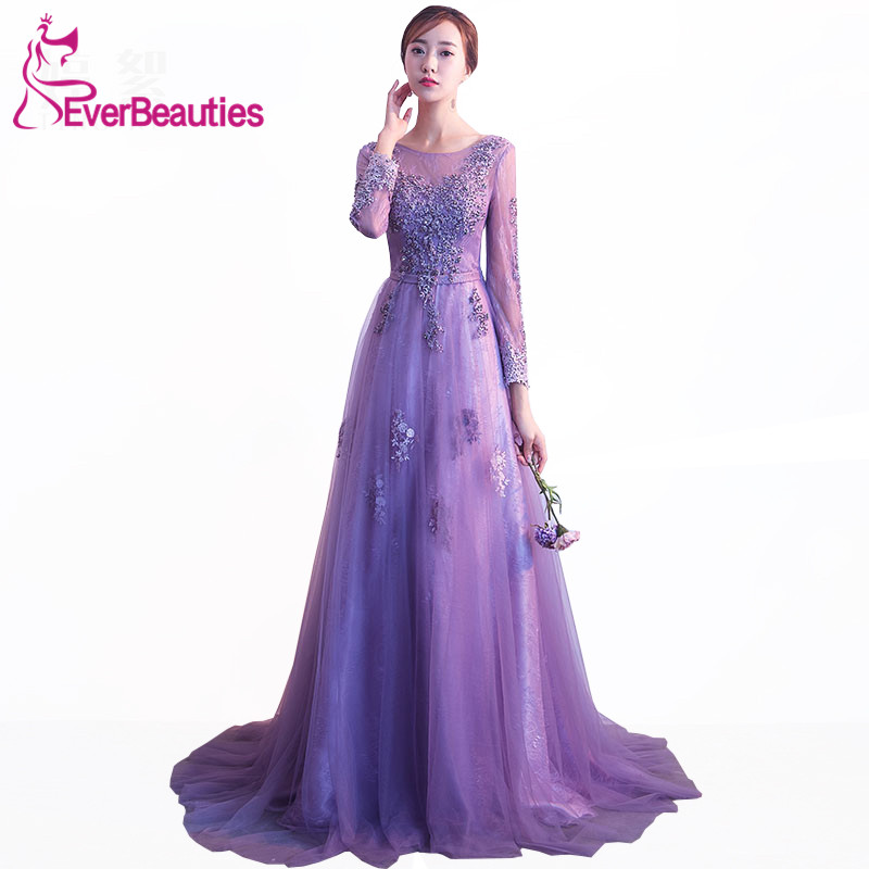 Purple   Prom     Dresses   2019 Tulle with Lace Appliqued A-line Evening Party Gowns Long Sleeves Vestido De Baile