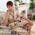 Vestidos de seda Noite Kimono Homme Chinois Kimono Homme Cetim Vestido Longo Azul 344