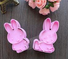 3D Cute 2pcs long ears Rabbit Plunger Cookie Fondant Cake Mold Cutter Chocolate Cupcake Decorating Baking Tools cookie mold