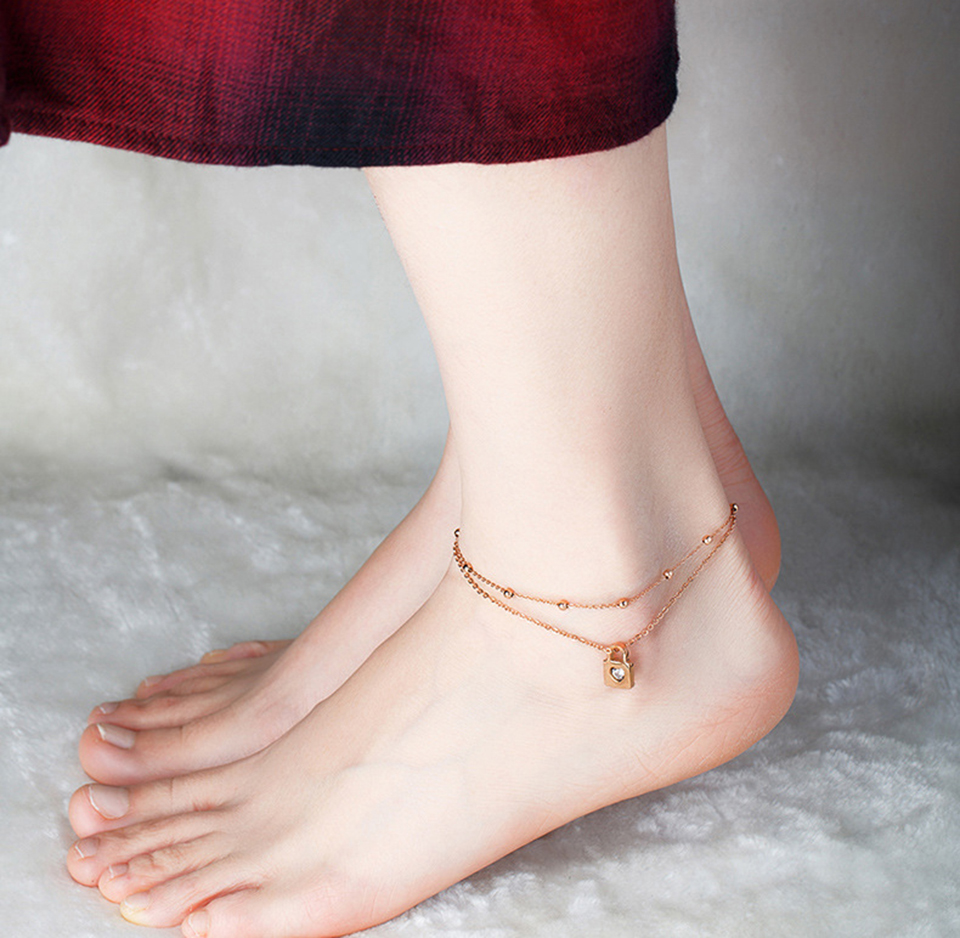 Love Heart Lock Anklet Rose Gold Color Titanium Stainless Steel Material Anklets Fashion Trendy Women Jewelry Gift Dropshipping 5