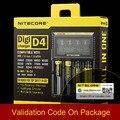 Nueva Original Nitecore D4 Digicharger LCD Circuito Inteligente li-ion Mundial de Seguros 18650 14500 16340 26650 Cargador de Batería