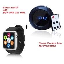 Uhr S68 SmartWatch Schlafüberwachung Schrittzähler Thermometer Höhenmesser für ios Android Telefon + buy one get one Smart kamera freies