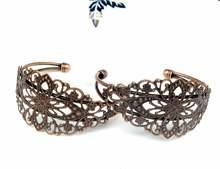 10 шт античная латунь бронзовый браслет филигрань Вмещает Кабошон