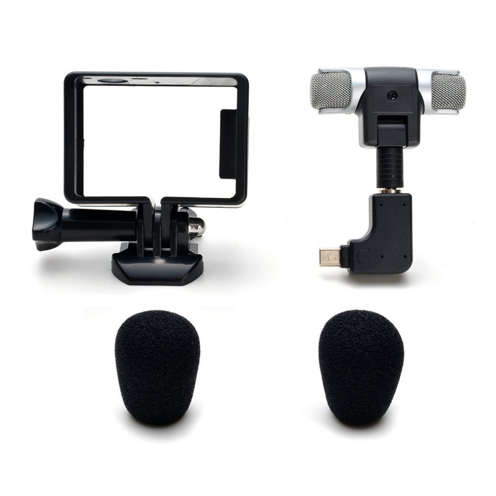 Mini Stereo Microphone For Gopro Hero 4 3 3+ Accessories Protective Frame Case Mount For Go Pro Action Camera 3.5mm No Noise MicMini Stereo Microphone For Gopro Hero 4 3 3+ Accessories Protective Frame Case Mount For Go Pro Action Camera 3.5mm No Noise Mic