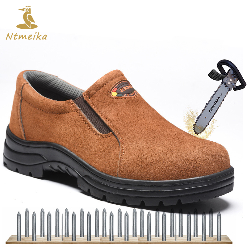 Big Size 37-45 Summer Work Safety Shoes Men Steel Toe Steel Sole Genuine Leather Safety Boots Breathable Puncture-proof Shoes купить недорого в Москве