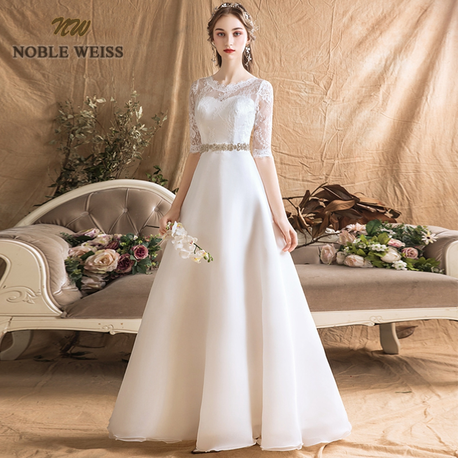 Wedding Dresses Organza A-line Simple Wedding Dress Sexy Floor-length Sashes Bridal Dresses With Half Lace Wedding Gown