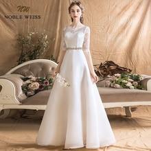 חתונת שמלות אורגנזה אונליין פשוט חתונה שמלה סקסית באורך רצפת sashes כלה שמלות עם חצי תחרה חתונה שמלה