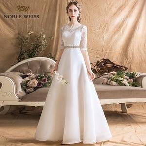 Image 1 - Женское ТРАПЕЦИЕВИДНОЕ простое свадебное платье, сексуальные свадебные платья до пола с поясом, свадебное платье с кружевом