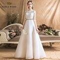 Vestidos de noiva organza a linha vestido de casamento simples sexy até o chão faixas vestidos de noiva com meia renda vestido de casamento