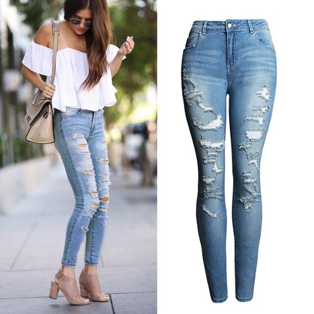 Aliexpress.com : Buy 2074 New 2017 High Waist Jeans Ladies Cotton ...