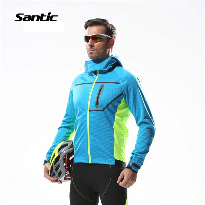 Santic Autumn Winter Cycling Fleece Jacket Thermal Windproof Mountain Bicycle Bike Jacket Windcoat MTB Cycling Jacket Clothing 2017 santic mens breathable cycling jerseys winter fleece thermal mtb road bike jacket windproof warm quick dry bicycle clothing