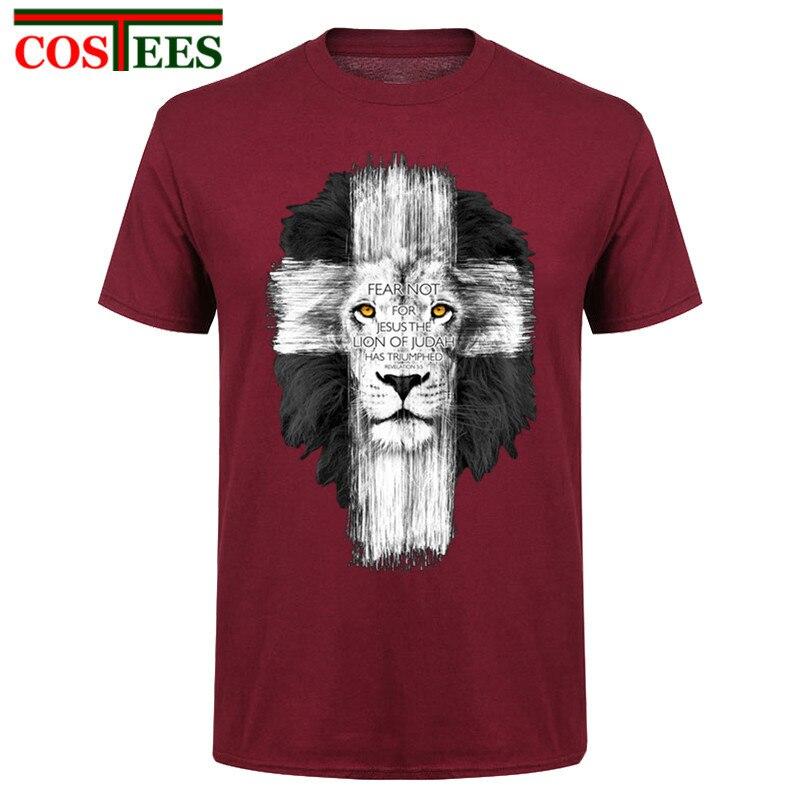 Nuevo mens Jesús kerusso marca cristiana camiseta León Cruz miedo no Tops camiseta Camisas casual Harajuku camisetas hombre Camiseta camisa