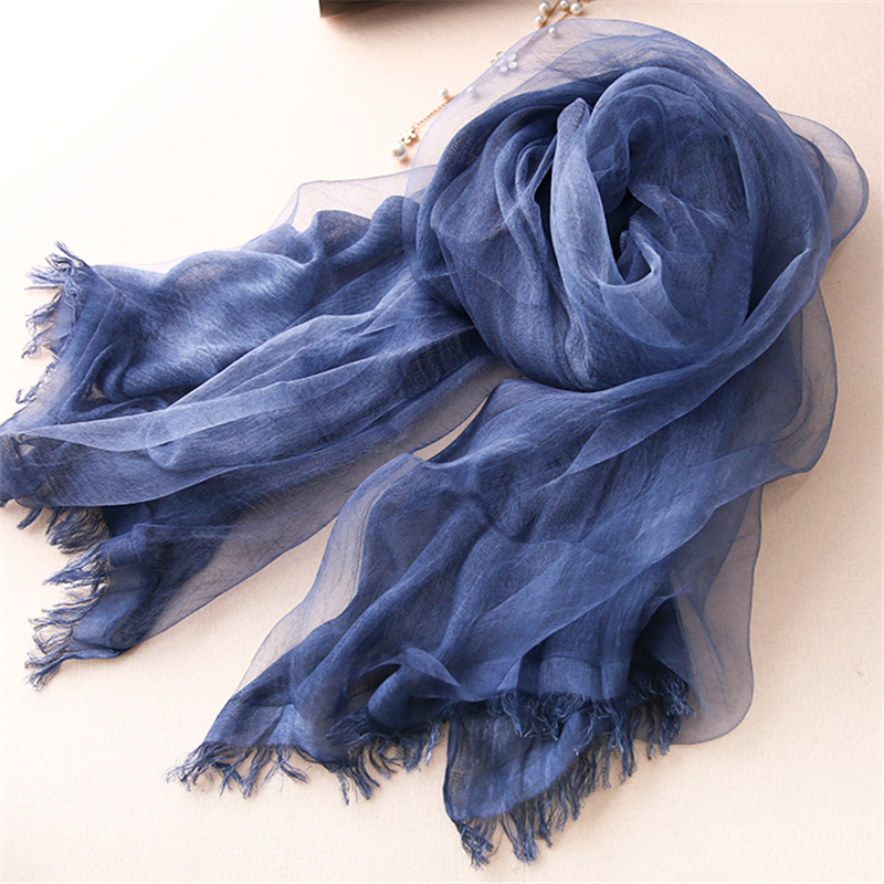 Double Layer Shawls and Scarves For Women Silk and Cotton Scarf Tassel Decoration Multifunction Scarf Shawl