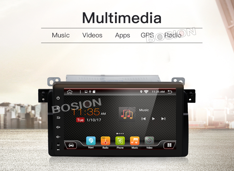 GPS Map 1024 600 Quad Core Car Radio 1DIN Android 7 1 1 For BMW E46