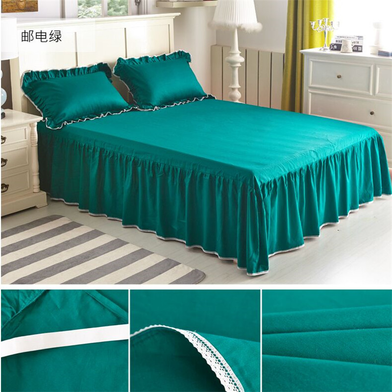 100 cotton pure color bed skirt 3pcs set elastic fitted How to put a fitted sheet on a bed