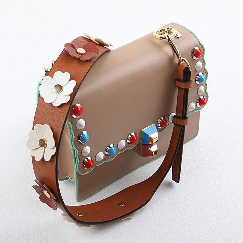 Fashion strap for women bags handbags leather colorful flowers shoulder bag belt strap adjustable floral strap bag accessories