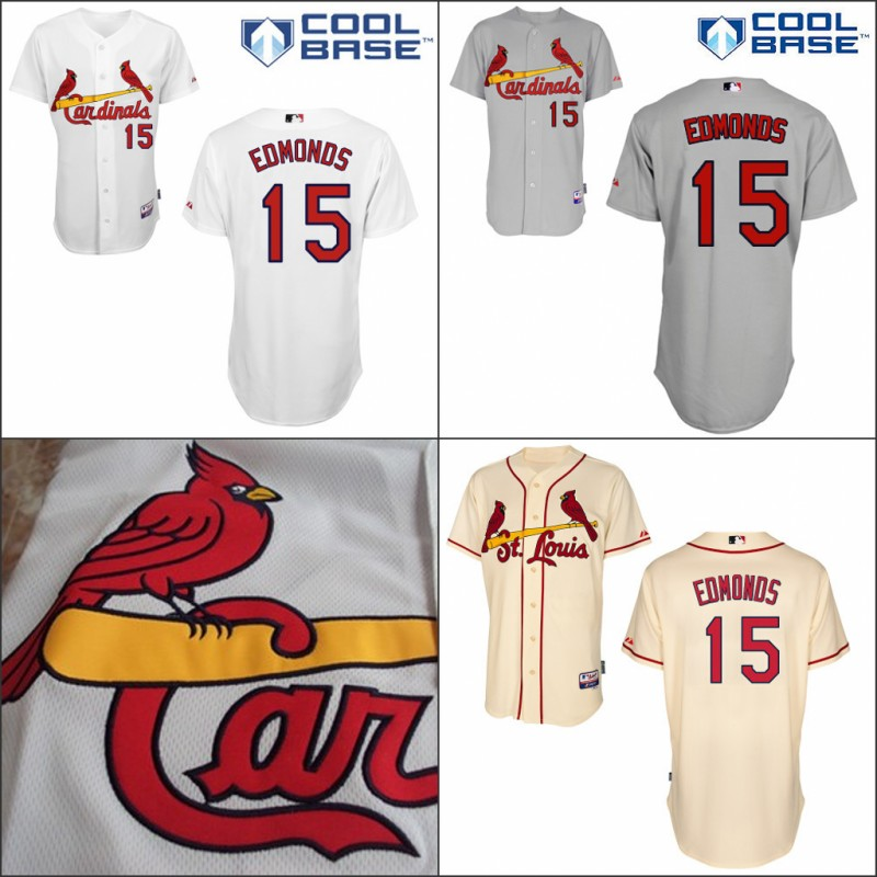 online store 4e8e4 431ba St Louis Cardinal 15 Jim Edmonds Jersey White Cream Grey ...