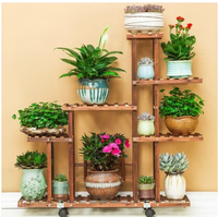H Carbonized wood Damp proof Antiseptic Flower Rack Multi layer Plant Stand Shelves Garden Patio Balcony with Planting tools