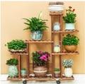 H bois carbonisé résistant à l'humidité antiseptique porte fleurs multi couche support de plantes étagères jardin Patio balcon avec des outils de plantation