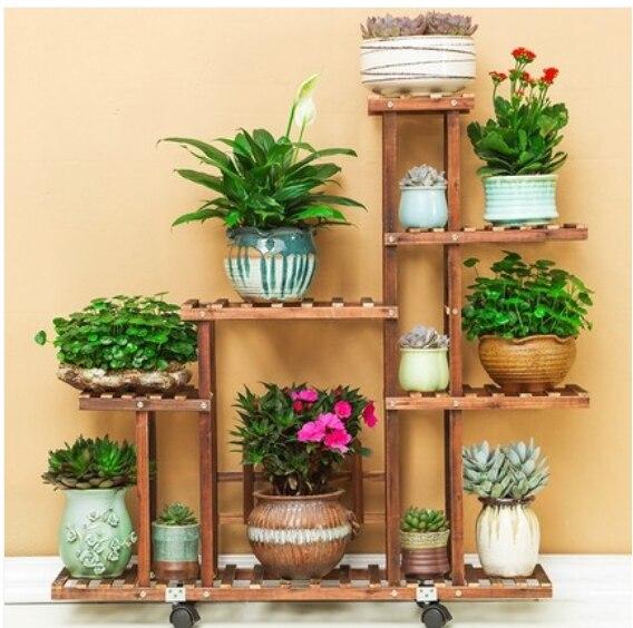 H support de fleurs antiseptique en bois carbonisé résistant à l'humidité support de plantes multicouche étagères de jardin Patio balcon avec outils de plantation