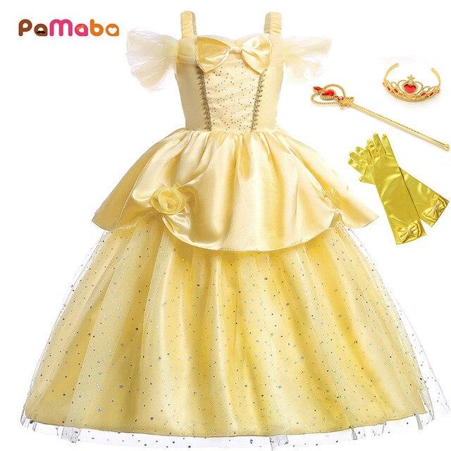 0b94204e0baf PaMaBa Children Girls Halloween Fantasy Belle Princess Dress up Kids ...