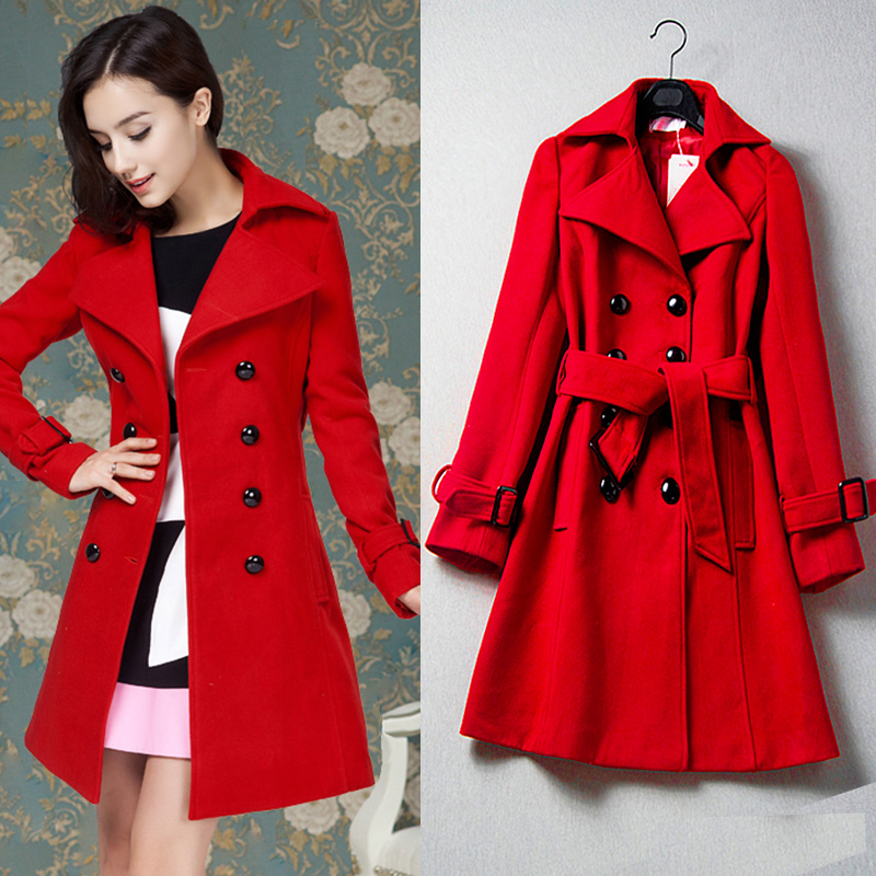 European Fashion Women Fall Winter Coats New Women'S Luxurious Red Double-Breasted Match Wool Coat With Belt Brand Quality Super fashion red longline coat with belt