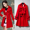 European Fashion Women Fall Winter Coats New Women'S Luxurious Red Double-Breasted Match Wool Coat With Belt Brand Quality Super