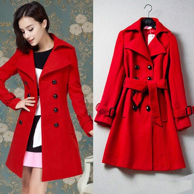 Very European Fashion Women Fall Winter Coats New Women'S Luxurious Red  WU44