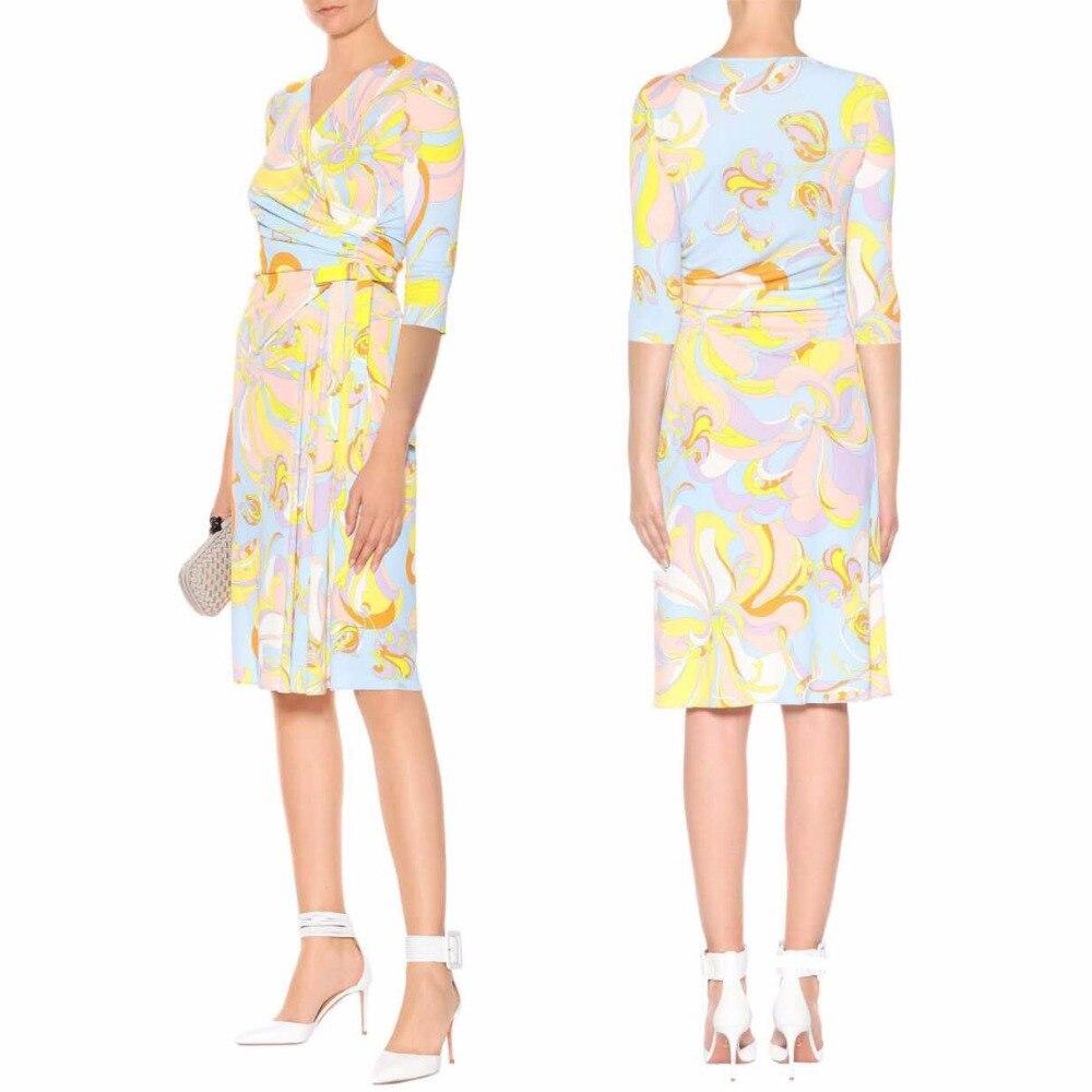 Women s Summer half Sleeved V Neck Fashion Beautiful Leisure Stretch silk Knitted Slim Dress