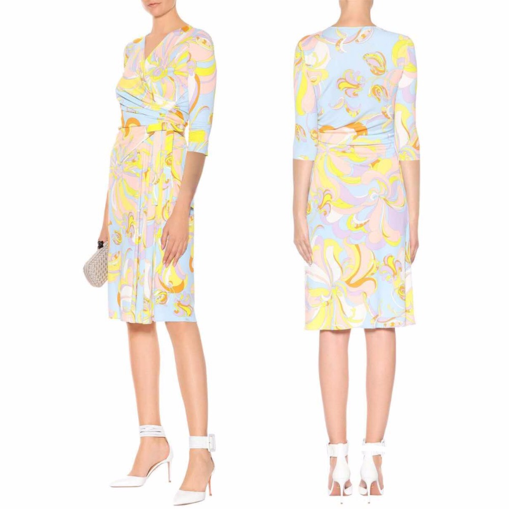 Frauen Sommer halb Sleeved V ausschnitt Mode Schöne Freizeit Stretch seide Gestrickte Dünnes Kleid-in Kleider aus Damenbekleidung bei  Gruppe 1