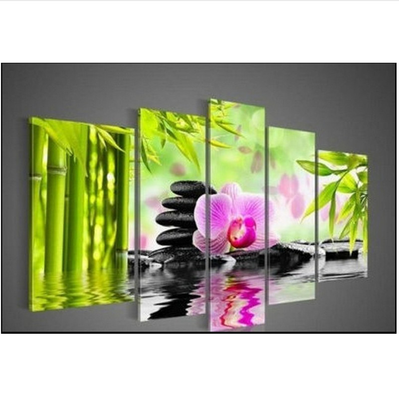 Dpf 5d Diy Diamond Embroidery Painting Wall Art Flicker Orchid Bamboo Triptych Cross Stitch Sitting Room Decorative Picture Dpf 5d Diy Diamond Embroidery Painting Wall Art Flicker Orchid Bamboo Triptych Cross Stitch Sitting Room Decorative Picture