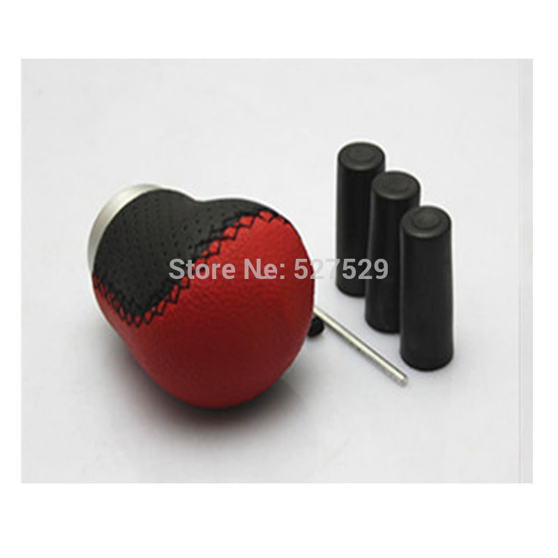 Leather Red Stitched Car Gear Shift Knob Shifter Lever Universal Fit for Manual Transmission Fit for BMW,Benz,Honda