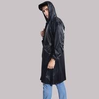 Men's Raincoat black One size Rain Walking Outdoor Hiking Bicycle Fishing poncho Jacket male Waterproof Thick Hooded rain coat