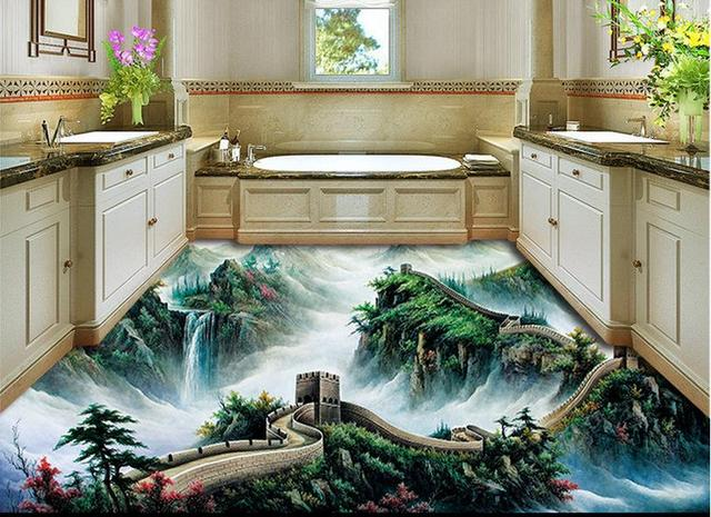 Custom 3d Waterproof Soundproof Floor Great Wall Modern Wall Mural Pvc  Vinyl Flooring Bedroom Wallpaper 3d
