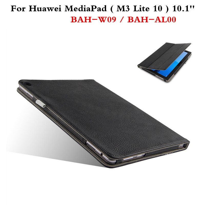 Luxury Genuine Leather Flip Cover Slim Protective Case For Huawei MediaPad  M3 Lite 10 BAH-W09 BAH-AL00 10.1'' Tablet PC Cover smart ultra stand cover case for 2017 huawei mediapad m3 lite 10 tablet for bah w09 bah al00 10 tablet free gift