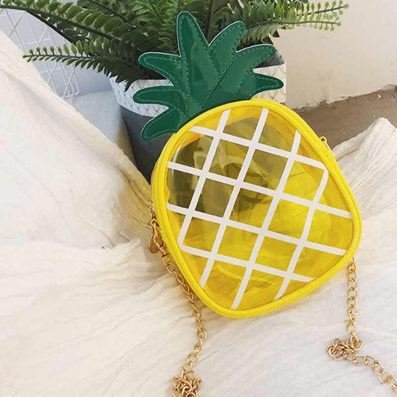 Summer Transparent Package Crossbody Bag Fresh Pineapple Shape Chain Convenient Messenger Shoulder Hand Bags
