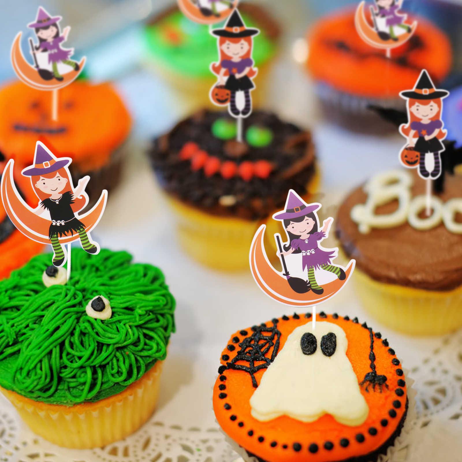 3 יח'\סט ליל כל הקדושים עוגת טופר Ghost פסטיבל מכשפה ghost עכביש גולגולת עוגת cupcake טופר פסטיבל DIY עוגת קישוטים