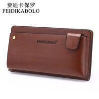 NEW 2015 POLO Men Leather Business Wrist Clutch Bag Handbag Wallet Organizer Vintage Brown Checkbook Wallet
