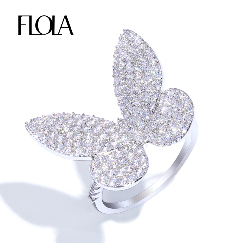 FLOLA Butterfly Ring Cocktail-Rings Women Cubic-Zircon Wedding-Anel Silver Fashion
