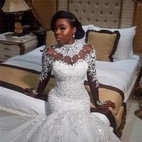 2019 Африканский нигерийский бисером Sheer Длинные рукава Русалка свадебное платье на заказ свадебные платья