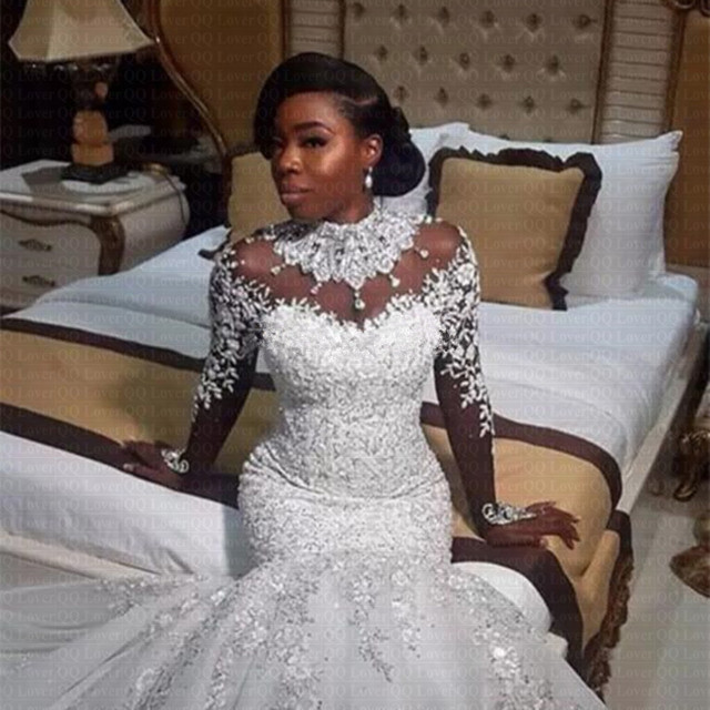 Nigerian Wedding Gowns: 2019 African Nigerian Beaded Sheer Long Sleeves Mermaid