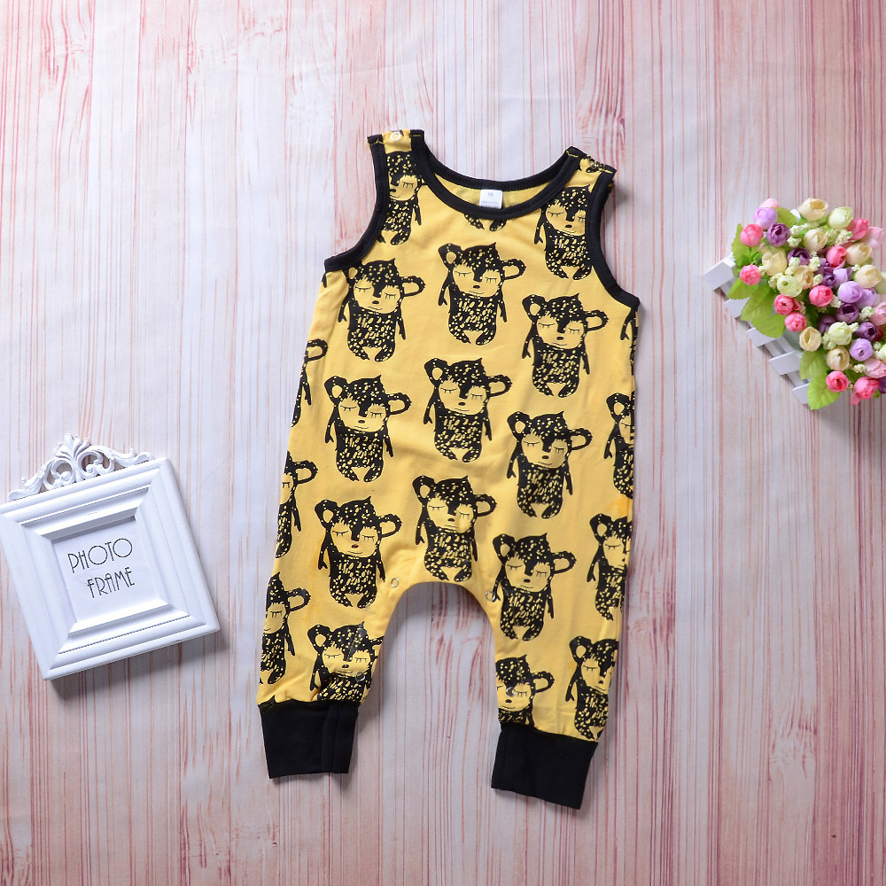 Infant Baby Kids Clothes Sleeveless Panelled Cartoon Print Romper Yellow Jumpsuit Bebe Children Clothes