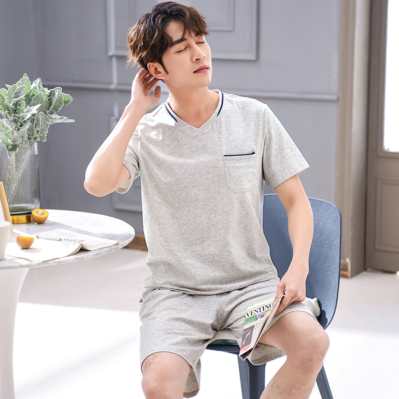 Modal Cotton Pajamas Men's Summer Thin Section Short-sleeved V-neck Summer Large Size Casual Wearable Youth Home Service Suit