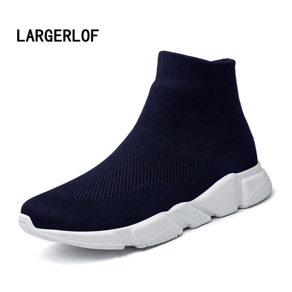 Sock Sneakers Elastic Plus Large Size Women's Sport Shoes High-top Running Shoes Women's Winter SH50113 plus size dotted ruffled blouson top