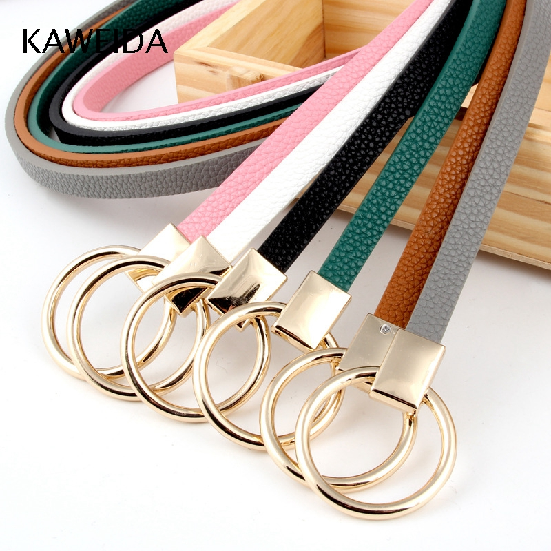 KAWEIDA Trending 2018 Women's Accessories Female 1cm Wide Thin PU Leather Circle Tied Buckle Belts Ladies Casual Belt For Dress