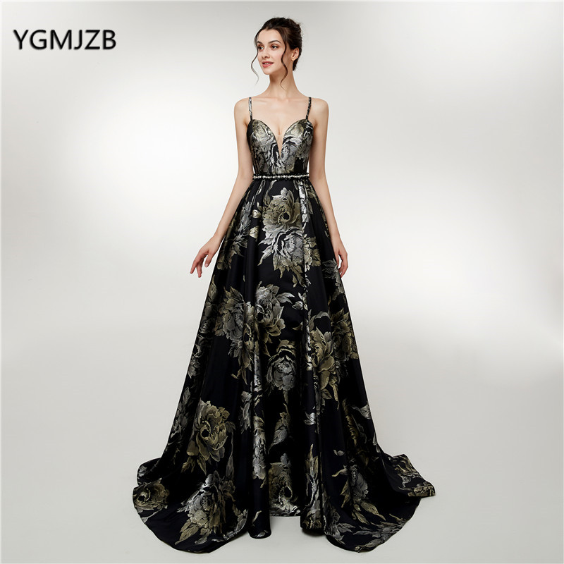 New Black Long Prom Dress 2018 Spaghetti Straps 3D Print Flowers ...