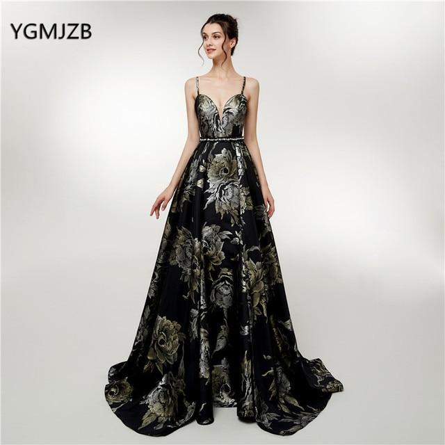 ad4398d9fd New Black Long Prom Dress 2018 Spaghetti Straps 3D Print Flowers Elegant  Arabia Formal Evening Gowns Party Robe De Soiree